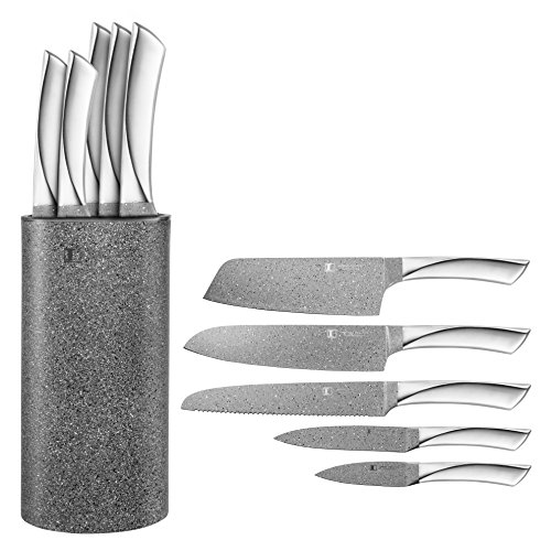 Imperial Collection 6 Piece Knife Set Including Knife Block - Extremely Sharp High Quality NonStick Coating Kitchen Knives With A