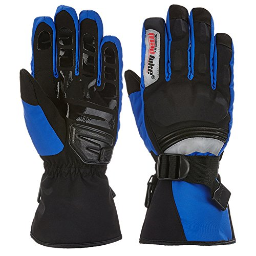 A.B Crew Waterproof Motorcycle Gloves Winter Riding Gloves Protective Gloves Windproof Full Finger Gloves, Blue L