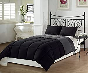 Chezmoi Collection 3-Piece Black Grey Super Soft Goose Down Alternative Reversible Comforter Set, Queen/Full Size