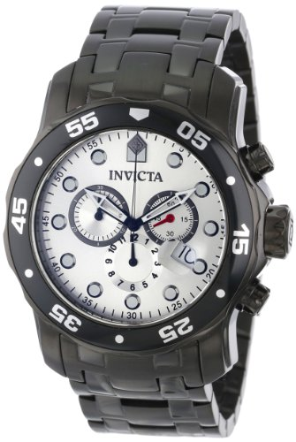 Invicta Men'S 80075 Pro Diver Chronograph Silver Dial Black Ion-Plated Stainless Steel Watch