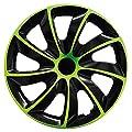 Universal-Radkappen Set - Quad Bicolor in Schwarz/Grün (BIC Grün 16 Zoll) von Autoteppich Stylers auf Reifen Onlineshop