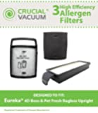 Eureka Filter Kit Designed To Fit Eureka 4D Boss, Pet Fresh Bagless Upright, Compare To Part # 62733, 62733-4, DCF15, DCF8, DCF-8, 73494, 61830, 61840, 61830A-2, 74038, Designed & Engineered By Crucial Vacuum