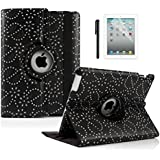 Boriyuan Stylish Luxury Bling Flower Protective Folio Flip PU Leather Case Cover for with Elastic Strap Latch 360 Degree Rotating Multi-angle Stand Holder+Black Stylus+Screen Protector