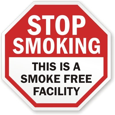 Stop Smoking: This Is A Smoke Free Facility Sign, 18″ x 18″