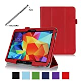 ProCase Samsung Galaxy Tab 4 10.1 Tablet Case with bonus stylus pen - Tri-Fold Smart Cover Case for 10 inch Galaxy Tab 4 (2014 released), with auto Sleep/Wake, Hand Strap, also compatible with Galaxy Tab 3 10.1 (Red)
