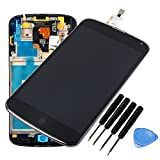 For Black LG Optimus Google Nexus 4 e960 LCD Display Touch Screen Digitizer Assembly Replacement with Outer Frame + Free tools - UK Seller