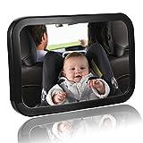Mture Rücksitzspiegel für Babys, Auto Babyschale, Sicherheitsspiegel, View Back Seat Mirror im Reboard Kindersitz und Babyschalen,Swivel Einstellbar und Bruchsicher (schwarz)