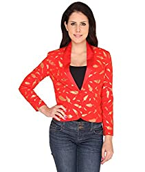 Idiotheory Shawl Collar Red Georgette Short Jacket (ITWCPSCSJRD-06_S)