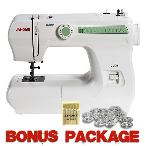 Janome 2206 6 Stitch FullSize Freearm Sewing Machine, 860SPM & FREE BONUS PACKAGE