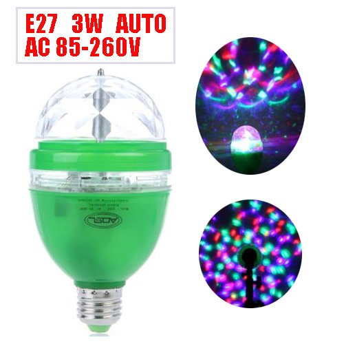 Assem® 3W E27 Full Color Rgb Led Auto Rotating Lamp Crystal Stage Dj Party Home Party Decoration Light Bulb 85-260V