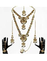 Faux Citrine, Cubic Zirconia Twin Necklace Set With Mang Tika And Ring Bracelet - Stone, Bead And Metal
