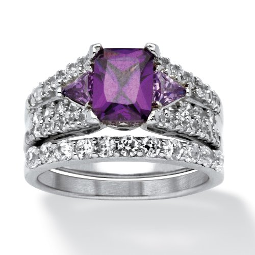 3.91 Tcw Emerald-Cut Purple Cubic Zirconia Two-Piece Bridal Set In Sterling Silver