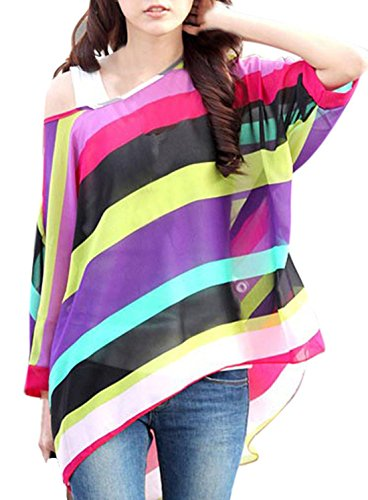 Am Clothes Womens Summer Bohemian Chiffon Super Loose Casual Top Blouse One Size