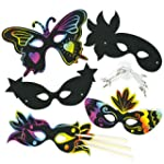 Kratzbild-Masken - Karnevalsmasken -...