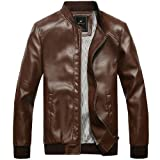 Mens PU Faux Leather Motorcycle Jacket Slim Fit Top Coat Outerwear by Leather Factory Outlet