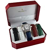 Peugeot Women's Silver-Tone Crystal Bezel Roman Numeral Dial with Five Interchangeable Leather Bands Watch Gift Set 679S