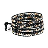 Lyric Stylish Metallic Mix Beaded Black Leather 5x 39 Inch Wrap Bracelet in Gift Box