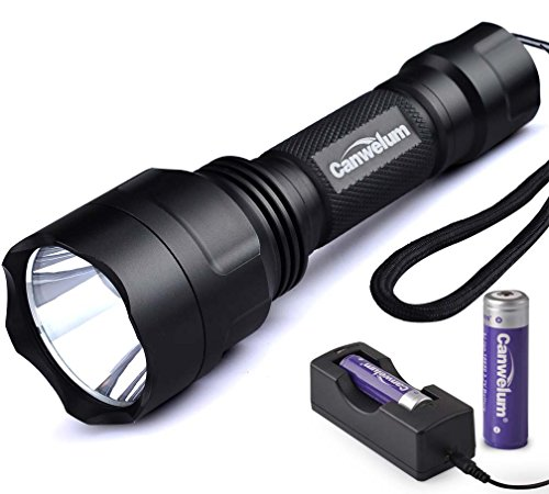 Canwelum Compact Cree Led Strobe Tactical Flashlight, Self-Defense And Long-Shot Led Flash Light (A Complete Set With Battery And Charger: Bigger Battery Power Capacity & With Protective Board)
