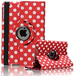 KolorFish iLittle Polka Dots 360 degree Rotating Leather Flip Stand iPad Case Cover For iPad Air (Red)