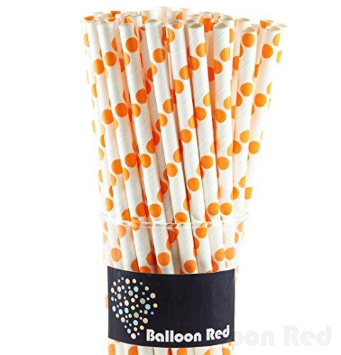 Biodegradable Paper Drinking Straws (Premium Quality), Pack of 50, Polka Dot - Orange