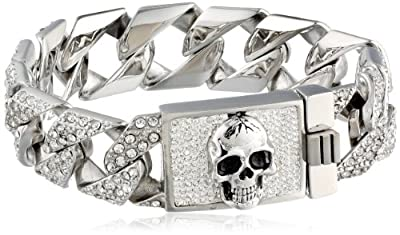 """Men's Stainless Steel Skull Clear Crystals Link Bracelet, 3"""" by Chateau D'Argent Inc"""