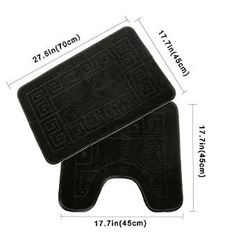Homcomoda Bathroom Contour Rug Set Washable Bath Shower Mat with U-shaped Toilet Rug for Bathroom Absorbent Non Slip Polypropylene Fiber Bath Floor Rugs (Black)