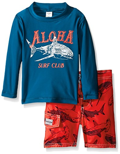 Osh Kosh Toddler Boys Aloha Long Sleeve Rash Guard Set, Navy/Blue, 3T