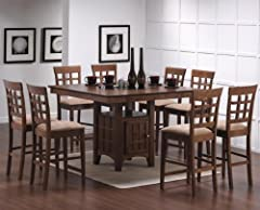 9pc Walnut Counter Height Storage Dining Table w/ Glass Center & Chair Set 101438