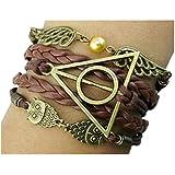 Healthtop Handmade Vintage Owls for Harry Potter Deathly Hollows Wings Leather Wrap Bracelet Unisex