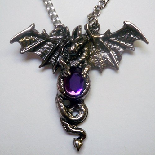 Winged Dragon with Purple Stone Necklace