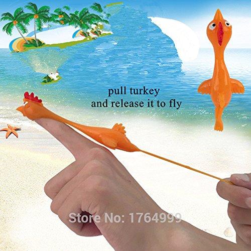 10pcs/lot Rubber Sling Shot Chicken Stretchy Flying Turkey Finger Slingshot Birds catapult Sticky Novelty Toys (Rubber Chicken Slingshot compare prices)