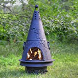 Blue Rooster - ALCH009-CH - Garden Style Cast Aluminum Chiminea - Charcoal - Medium