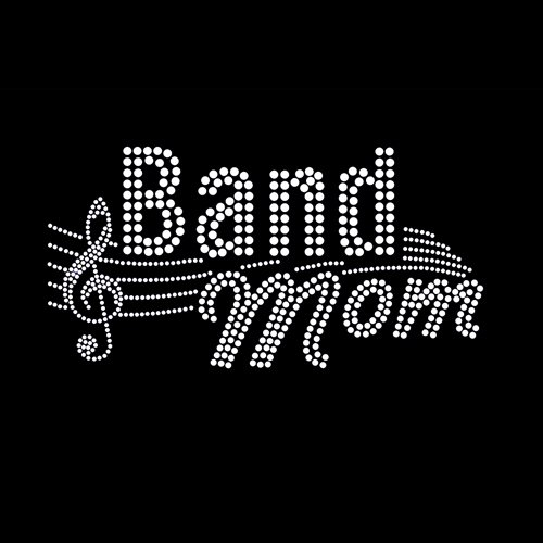 Band Mom Iron On Rhinestone T-Shirt Transfer
