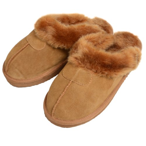 Ladies' EGO Snugg Suede Mule Slippers With Faux Fur Trim & Lining Chestnut UK 4