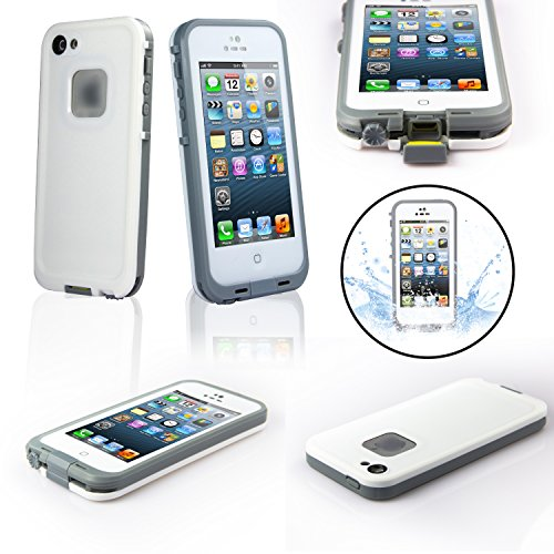 Savfy® White [Ip67-Heavy Duty]Waterpoof Iphone 5/5S Case - Compass Underwater Diving Protective Waterpoof Shock/Dirt/Snow Proof Case Cover Pouch Holster - Unique Earphone Design For 360 Full Body Protection