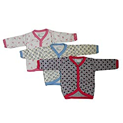NammaBaby Cotton Front Open Full Sleeves vest- Tshirt -MULTI CUTE Set Of 3 (3-6 months)
