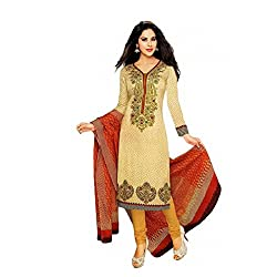 Angle Shop Women's Cotton Printed Dress Material (Cream_Unstitched)