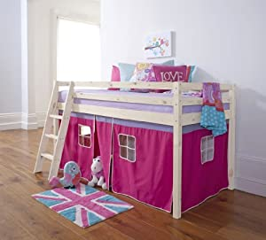 Cabin Bed & Mattress with Tent Pink in Whitewash 5008WWmattress