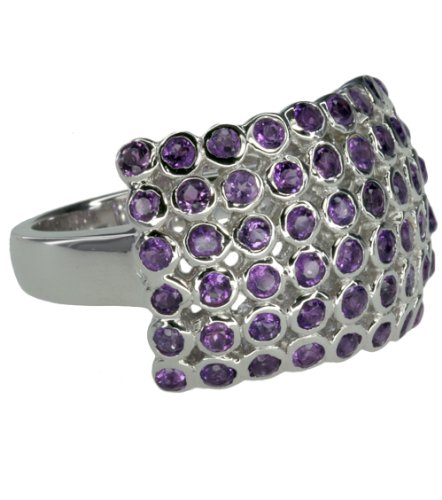 Amethyst Round Cluster Hallmarked Sterling Silver Ring size L