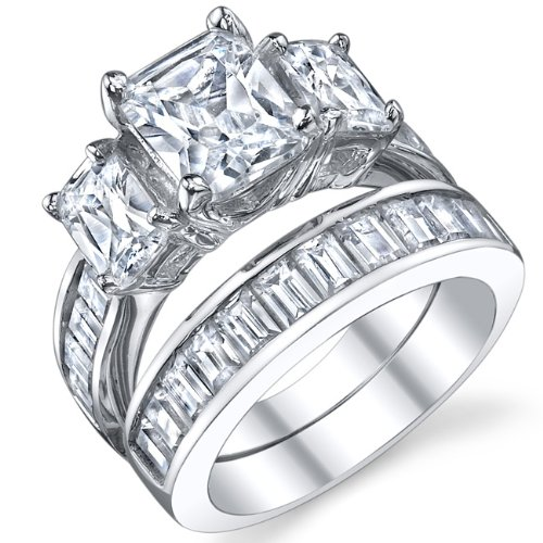 2 Carat Radiant Cut Cubic Zirconia Cz Sterling Silver Women'S Engagement Ring Set Size 9
