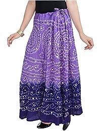 SHREEMANGALAMMART Bandhej Exclusive Purple Cotton Skirt (Light Purple-Dark Purple)(SMSKT541)