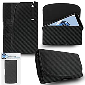 iTALKonline Leagoo Elite 5 Carbon Fibre / Fiber Black PREMIUM PU Leather Horizontal Executive Side Pouch Case Cover Holster with Belt Loop Clip and Magnetic Closure Includes Re-tractable Captive Touch Tip Stylus Pen.