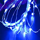 CrazyFire® 3M 9.8ft Blue Starry Copper String Light AA Batteries Operated LED Fairy Copper Wire Strip Starry Light for Christmas Halloween Birthday Valentine's Day Events DIY Decorations