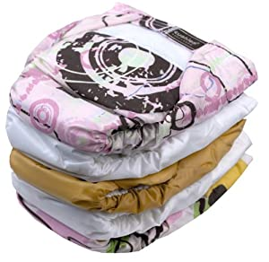 Kushies 5 Pack Reusable Ultra-lite Diapers for Infants, Girl
