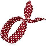 EUBUY Cute Polka Dot Cotton Headband Head Band Head Wrap Headwrap Turban Hairband Hair Band For Girls Women Wine...