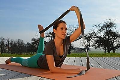 Ahimsa Glow Yogagurt grau 250 cm mit D-Ring Metall-Verschluss aus 100% Baumwolle - maschinenwaschbar, verstellbar, stabil - auch für Pilates, Gymnastik, Workout