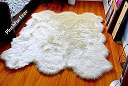 Faux Fur Sheepskin Fur Accents Shag Pelt Rug White 7 \'