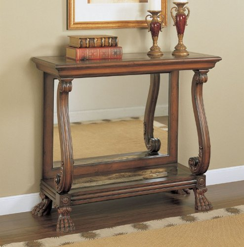 Cheap Entryway Console Sofa Table with Mirrored Back Panel in Faux Mahogany Finish (AZ00-46842×20870)