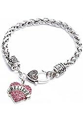 Godyce Sister Daughter Best Friend Grandma Faith Charm Heart Bracelet - Crystal Inlaid