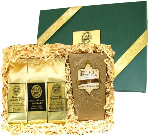 Kona Smooth Hawaiian Coffee & Cocoa Sampler Gift, Ground Coffee, Brews 36 Cups, for Christmas and All Occasions
